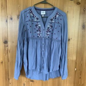 knox rose periwinkle embroidered button down 🌸 xs